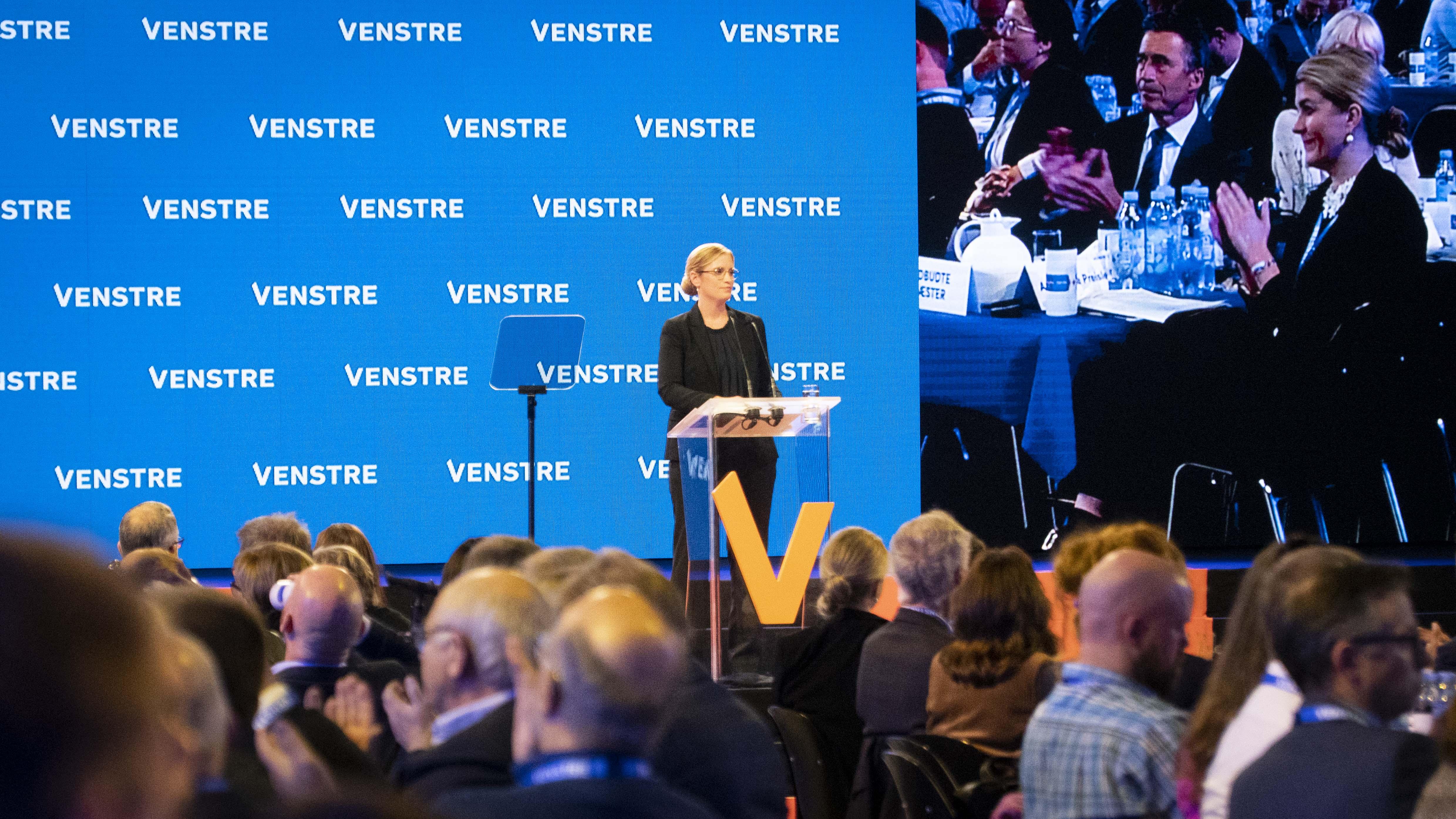 Venstres næstformand Stephanie Lose på talerstolen til Venstres Landsmøde 2021.