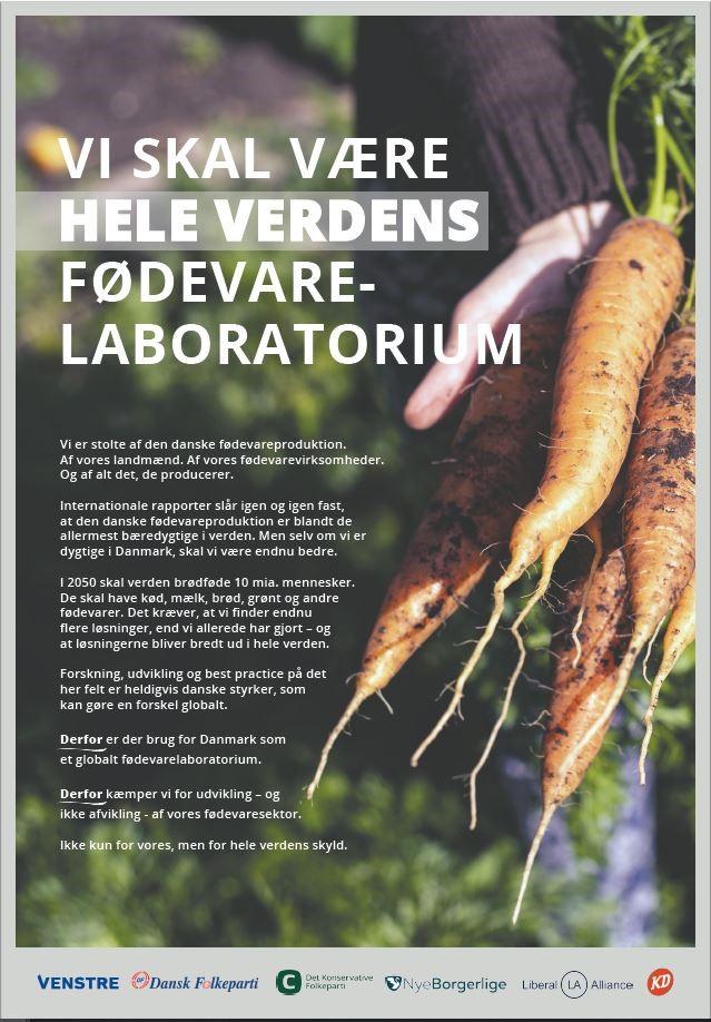 Blå blok vil have, at Danmark skal være hele verdens fødevarelaboratorium.
