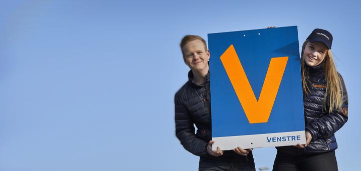 En Venstre-plakat til regionsrådsvalg 2021.