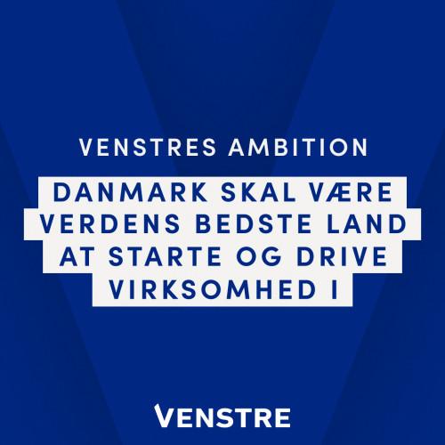 Venstre vil arbejde for, at Danmark bliver verdens bedste land til iværksætteri.