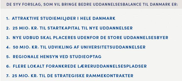 Venstres uddannelsesudspil består af disse syv forslag.